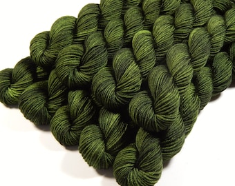 Mini Skeins, Hand Dyed Yarn, Sock Weight 4 Ply Superwash 100% Merino Wool - Moss Tonal - Olive Green Fingering Weight Sock Yarn