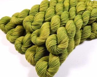 Sock Yarn Mini Skeins, Hand Dyed Yarn, Sock Weight 4 Ply Superwash Merino Wool Yarn - Lettuce Tonal - Indie Dyed Bright Green Fingering Yarn