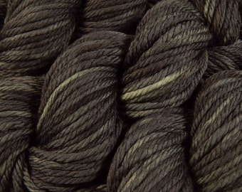Hand Dyed Bulky Yarn, Bulky Weight Superwash Merino Wool Yarn - Slate Grey Tonal - Knitting Yarn, Thick Wool Yarn, Charcoal Gray