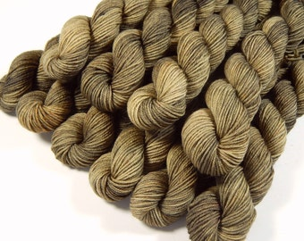 Mini Skeins, Hand Dyed Yarn, Sock Weight 4 Ply 100% Superwash Merino Wool - Driftwood - Neutral Tonal Knitting Yarn, Semi Solid Sock Yarn