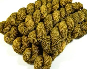 Sock Yarn Mini Skeins, Hand Dyed Yarn, Sock Weight 4 Ply Superwash Merino Wool Yarn - Olive Oil Tonal - Fingering Knitting Yarn, DIY Gift