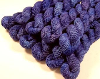 Mini Skeins, Hand Dyed Yarn, Sock Weight 4 Ply Superwash Merino Wool Yarn - Cobalt - Knitting Sock Yarn, Semi Solid Blue, Indie Dyer