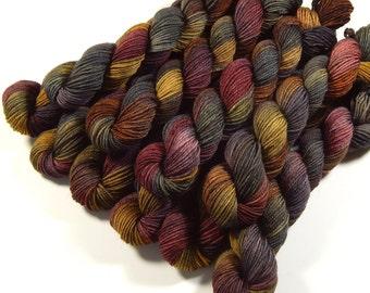 Mini Skeins Sock Yarn, Hand Dyed Yarn, Sock Weight 4 Ply Superwash Merino Wool Yarn - Agate - Fingering Knitting Yarn, Gray Grey Brown