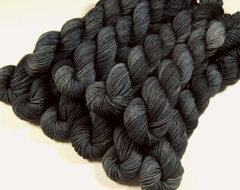 Mini Skeins Hand Dyed Yarn, Sock Weight 4 Ply Superwash Merino Wool - Slate Grey Tonal - Indie Dyed Charcoal Grey Fingering Sock Yarn