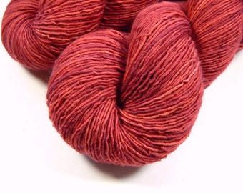 Hand Dyed Yarn - Sock Weight Superwash Merino Wool Singles Yarn - Cinnabar - Knitting Yarn, Sock Yarn, Wool Yarn, Red Rose Brick