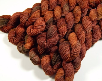 Mini Skeins, Hand Dyed Yarn, Sock Weight 4 Ply Superwash Merino Wool - Spice - Indie Dyed Rust Orange Autumn Fingering Weight Sock Yarn
