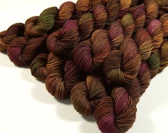 Sock Yarn Mini Skeins, Hand Dyed Yarn, Sock Weight 4 Ply Superwash Merino Wool Yarn - Clove Multi - Fingering Knitting Yarn, Brown Autumn