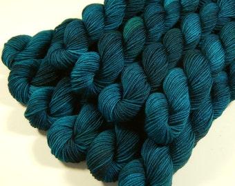 Hand Dyed Yarn, Sock Yarn Mini Skeins, Sock Weight 4 Ply Superwash Merino Wool - Deep Sea Tonal - Blue Green Fingering Weight Yarn, DIY Gift