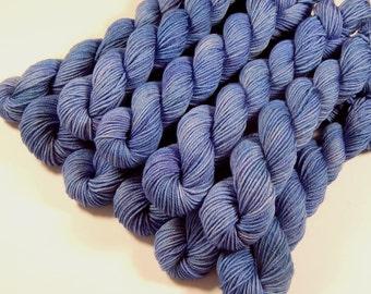 Sock Yarn Mini Skeins, Hand Dyed Yarn, Sock Weight 4 Ply Superwash Merino Wool Yarn - Delphinium - Light Blue Tonal Fingering Weight Yarn