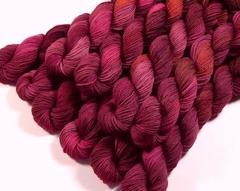 Mini Skeins, Hand Dyed Yarn, Sock Weight 4 Ply Superwash Merino Wool Yarn - Merlot Multi - Knitting Yarn, Heel Toe Sock Yarn, Burgundy Red