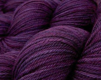 Hand Dyed Yarn, Worsted Weight Superwash 100% Merino Wool - Blackberry Tonal - Indie Dyed Purple Wool Yarn for Knitting, Crochet
