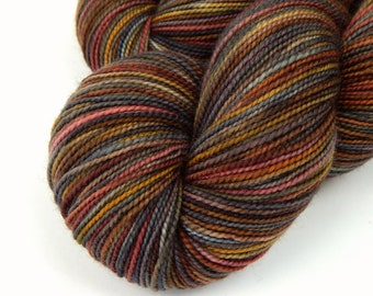 Hand Dyed Yarn, Sock Weight Superwash Merino Wool - Agate - Indie Dyed Grey Gray Brown Fingering Weight Sock Yarn