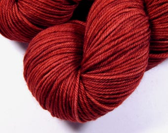 Hand Dyed Yarn, Sport Weight Superwash Merino Wool Yarn - Cinnabar - Indie Dyed Knitting Yarn, Sock Yarn, Sport Yarn, Tonal Red Orange