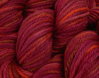 Hand Dyed Yarn, Bulky Weight Superwash Merino Wool - Merlot Multi - Thick Chunky Indie Dyed Knitting Yarn, Multicolor Burgundy Red Brown