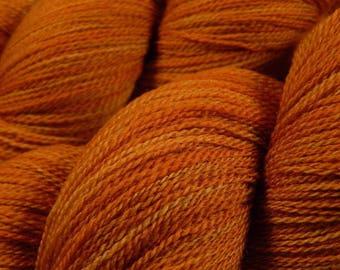 Hand Dyed Yarn, Lace Weight Superwash Merino Wool Yarn - Copper - Indie Dyed Tonal Orange Knitting Yarn, Artisan Hand Dyed Lace Yarn