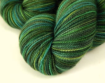 Hand Dyed Yarn, Sock Weight Superwash Merino Wool - Forest Multi - Green Fingering Indie Dyed Sock Yarn - SMALLER SKEIN