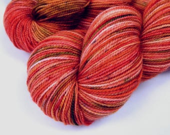 Hand Dyed Sock Yarn - Sock Weight Superwash Merino Wool Yarn - Potluck Speckled Lobster - Red Coral Fingering Knitting Yarn, Indie Dyed Yarn