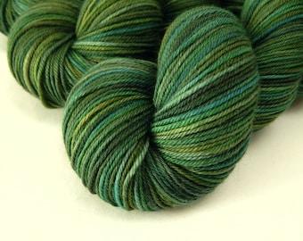 Hand Dyed Yarn, Sport Weight Superwash Merino Wool - Forest Multi - Indie Dyed Knitting Yarn, Green Multicolor Sock Yarn