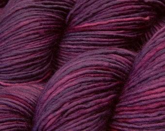 Hand Dyed Yarn, DK Weight Superwash Merino Wool - Deep Lilac Tonal - Indie Dyed Knitting Yarn, Single Ply Wool Yarn, Purple Lavendar Violet