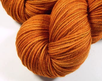 Hand Dyed Yarn, Sport Weight Superwash Merino Wool Yarn - Copper - Indie Dyed Knitting Yarn, Sock Yarn, Tonal Orange, DIY Gift