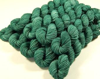 Sock Yarn Mini Skeins, Hand Dyed Yarn, Sock Weight 4 Ply Superwash Merino Wool Yarn - Bluegrass - Fingering Knitting Yarn, Green Tonal