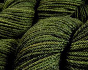 Hand Dyed Yarn, Worsted Weight Superwash 100% Merino Wool Yarn - Moss Tonal - Indie Dyed Hand Knitting Yarn, Worsted Yarn, Olive Green Yarn