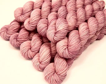 Mini Skeins Sock Yarn, Hand Dyed Yarn, Sock Weight 4 Ply Superwash 100% Merino Wool - Mallow - Fingering Knitting Yarn, Light Pink Tonal