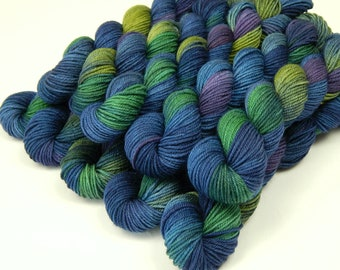 Sock Yarn Mini Skeins, Hand Dyed Yarn, Sock Weight 4 Ply Superwash Merino Wool - Ink Multi - Indie Dyed Fingering Weight Blue Green Purple