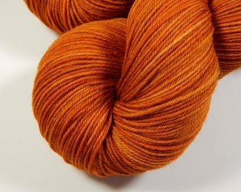 Hand Dyed Yarn, Sock Weight 4 Ply Superwash Merino Wool Yarn - Copper - Orange Tonal Knitting Yarn, Autumn Fingering Weight Sock Yarn