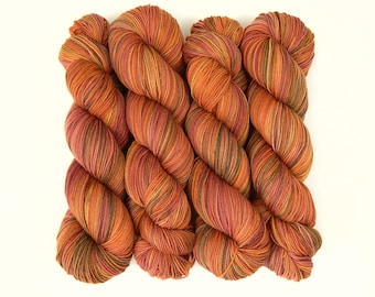 Hand Dyed Yarn, Sock Fingering Weight Superwash Merino Wool / Nylon - Autumn Potluck - Indie Dyed Fall Colors Knitting Weaving Yarn