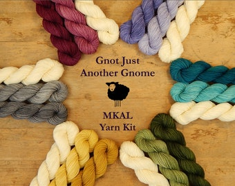 Mini Skein Kit for Gnot Just Another Gnome MKAL - Hand Dyed Yarn, Fingering Sock Weight 4 Ply Superwash Merino Wool, Sock Yarn Set