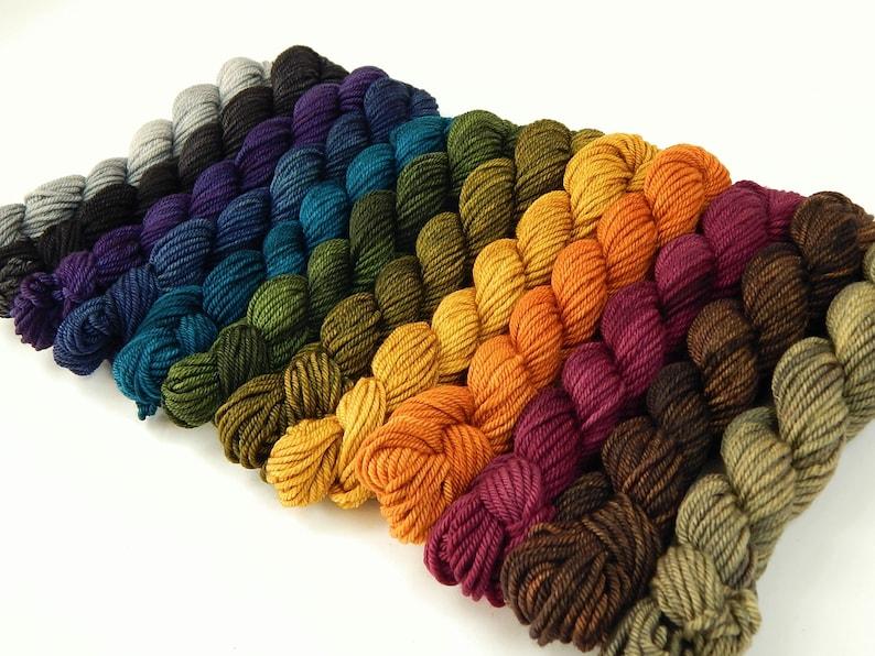 WORSTED Weight Mini Skeins Hand Dyed Yarn 100% Superwash image 0