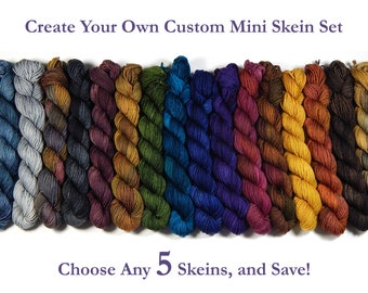 Create Your Own Mini Skein Set - Hand Dyed Sock Yarn, Fingering Weight 4 Ply Superwash Merino Wool, Hand Dyed Yarn, Choose From 35 Colors