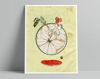 Wonderful World IV - Art Print - Art Nouveau Botany Inspired Collage