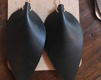black leather leaf earrings