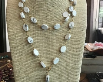 white marbled jade long adjustable necklace
