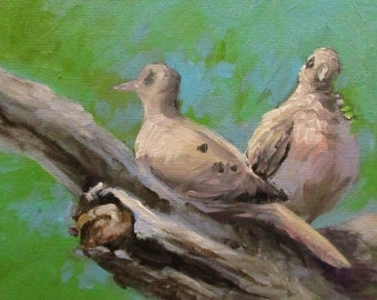Doves - original daily painting by Kellie Marian Hill