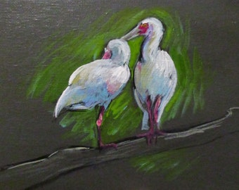 Spoonbills - original daily painting by Kellie Marian Hill