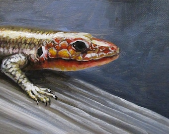 Skink - original daily painting by Kellie Marian Hill