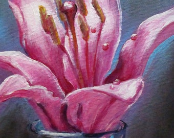 Pink Lily - original daily painting by Kellie Marian Hill