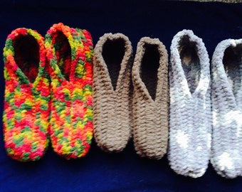 Thick & Warm Handmade Crocheted FAUX FUR Men's Slippers Size 6-12 With 3 Color Choices FREE Shipping