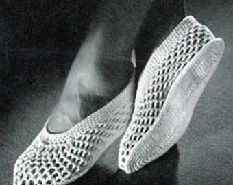 Vintage Crochet Pattern Mesh Slippers S M L PDF Instant Download