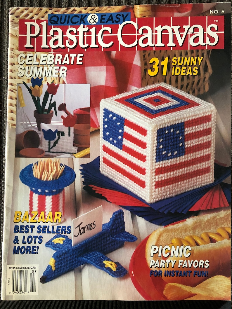 Plastic Canvas Quick /& Easy Colour Charted Magazine Picnic Party Favors With 31 Projects JuneJuly 1990
