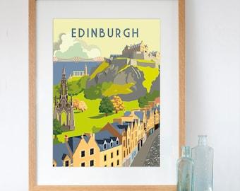 Edinburgh Retro Style Art Print