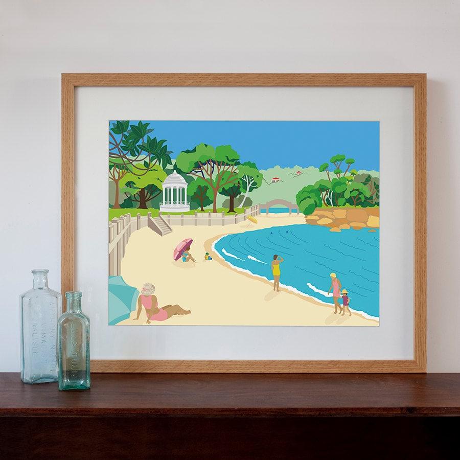 Retro Kitchen Shelves Art Print By Natalie Singh: Balmoral Beach Modern Retro Art Print