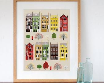 London Row Houses Art Print Autumn Fall Colours