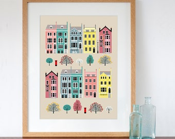 London Row Houses Pastel Art Print