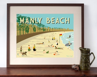 Manly Beach, Sydney - Retro Travel Poster Style Print