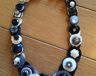 Black and White Button Necklace with Vintage buttons and silver colored hook and eye clasp