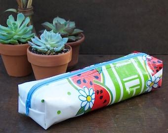 Oilcloth Pencil case zipper pouch Watermelon